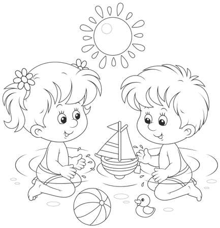 Children playing in water Vector Illustration
