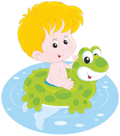 Happy little boy swimming with a rubber ring Vector Illustration
