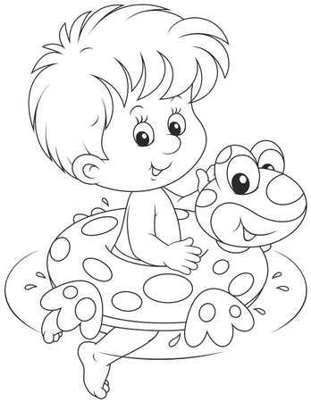 Boy with a rubber ring Illustration