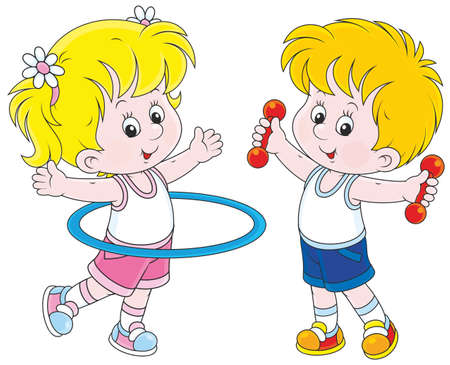 girl and boy doing gymnastic exercises Stock Vector - 41629966