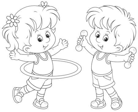 girl and boy doing gymnastic exercises Vector Illustration