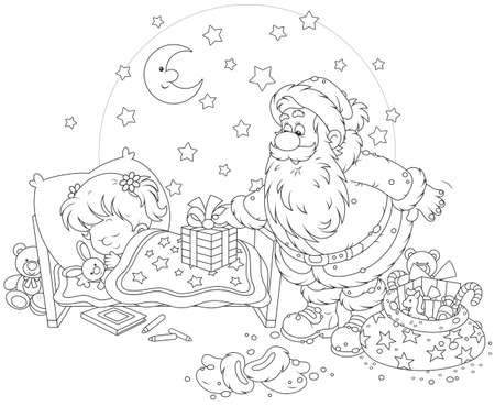 The night before Christmas, Santa Claus putting his presents near the bed of a sleeping girl Çizim