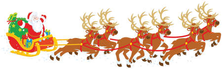 Christmas Sleigh of Santa Claus Illustration