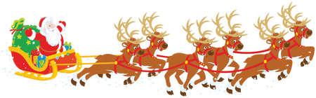 Christmas Sleigh of Santa Claus Vectores