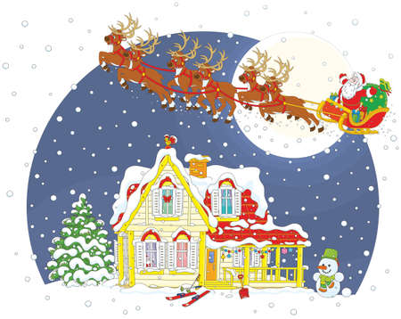 Magic reindeer flying Father Christmas with a sack of gifts in his sleigh on Christmas eve