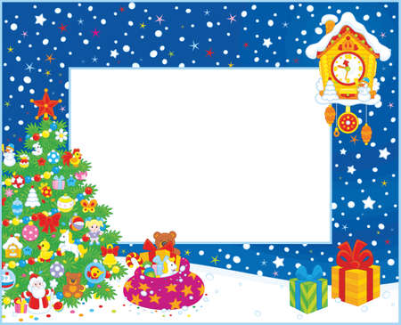 Vertical border with a decorated Christmas tree, a toy cuckoo-clock and gifts