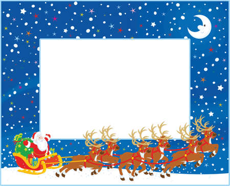 Horizontal border with Magic reindeer flying Father Christmas with a big sack of gifts in his sleigh on Christmas eve