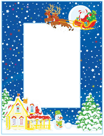 Vertical Vector Frame Border Of Santa Claus With His Magic Reindeers ...