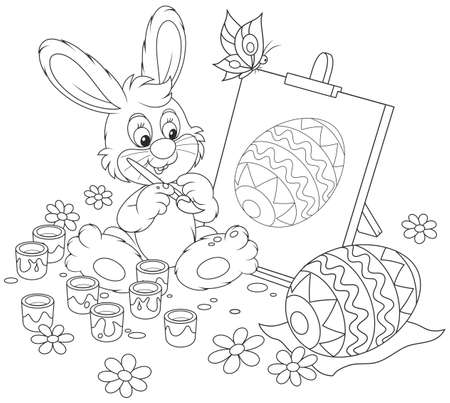 Happy little rabbit drawing Easter egg on an easel, a black and white vector illustration for a coloring book Vectores