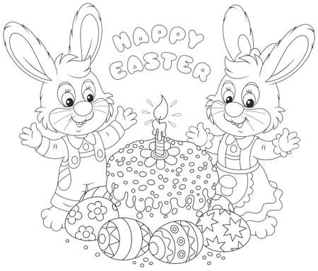 Happy little rabbits with a decorated Easter cake and colorfully painted eggs, a black and white illustration for a coloring book