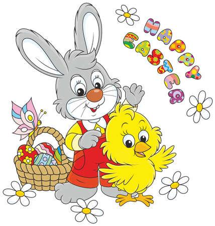 Piccolo coniglio e pollo dire Buona Pasqua e agitando in segno di saluto