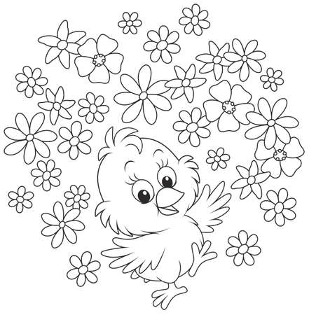 little chicken dancing with flowers, a black and white vector illustration