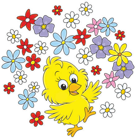 little yellow chicken dancing with flowers