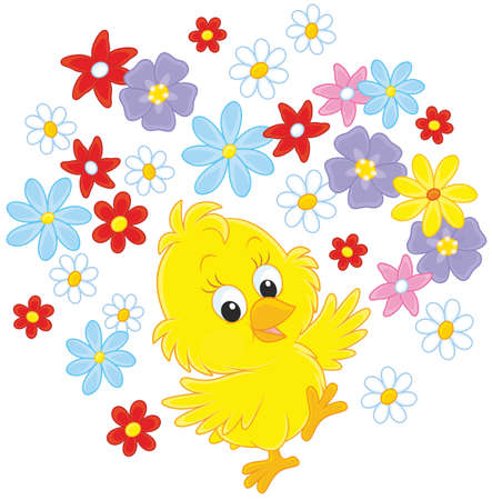 Easter Chick dancing with flowers