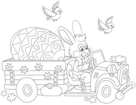 black and white vector illustration of a little rabbit driving a truck with a big decorated Easter egg
