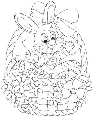 Little gray rabbit sitting in an Easter basket with painted eggs, decorated with a red bow and flowers Illustration