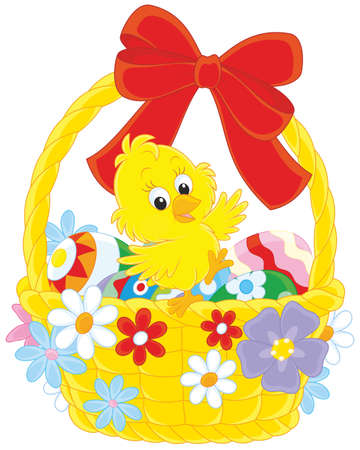 Little yellow chicken in an Easter basket with painted eggs, decorated with a red bow and flowers