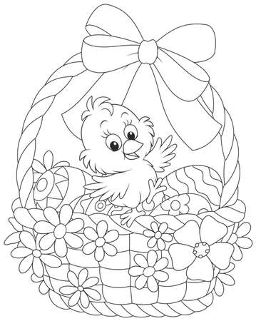 Little chicken in an Easter basket with painted eggs, decorated with a bow and flowers Illustration