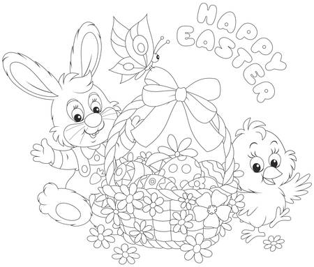 Easter card with Bunny and Chick Vector Illustration