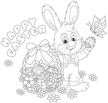 Little bunny with a happy Easter greeting and with a decorated basket of painted eggs Stock Vector - 53652664