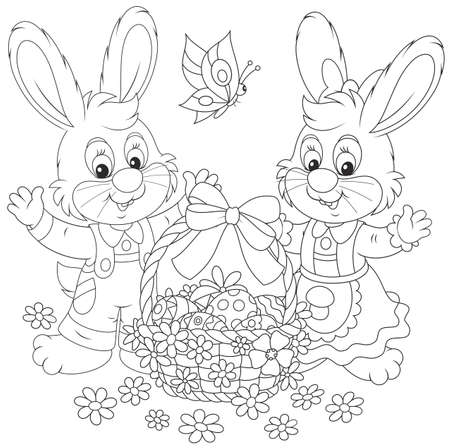 Little bunnies and a decorated Easter basket with painted eggs and flowers Vectores