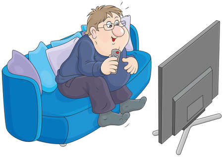 funny fat man sitting on the sofa and watching TV