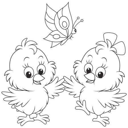 little chickens dancing with a butterfly Illustration