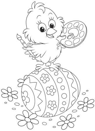 Little chick painted an Easter egg Vector Illustration