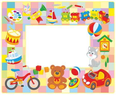 horizontal frame border with colorful toys