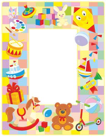 Frontera marco vertical con juguetes de colores Foto de archivo - 54633878