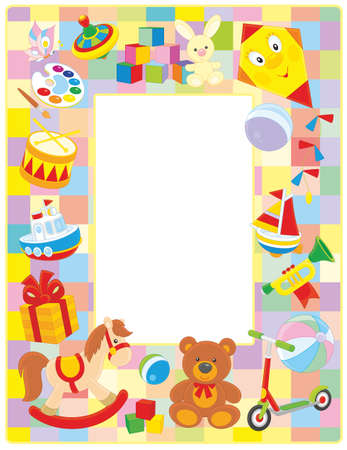 vertical frame border with colorful toys