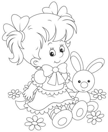 cute little girl in a dress sitting with a small toy rabbit among flowers Vector Illustration