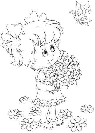 little girl with a bouquet of flowers looking at a flying butterfly Vector Illustration