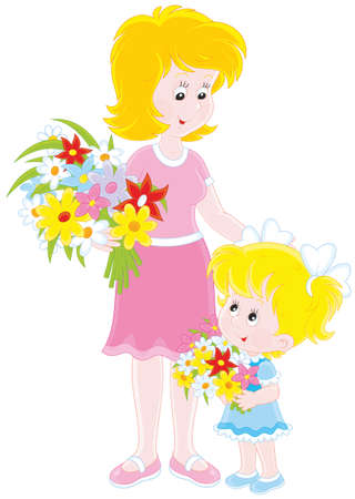 Mom and her daughter with flowers Vector Illustration