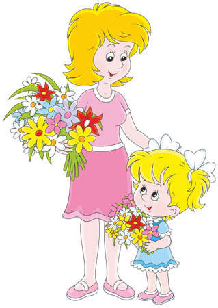 Mom and her daughter with flowers Illustration