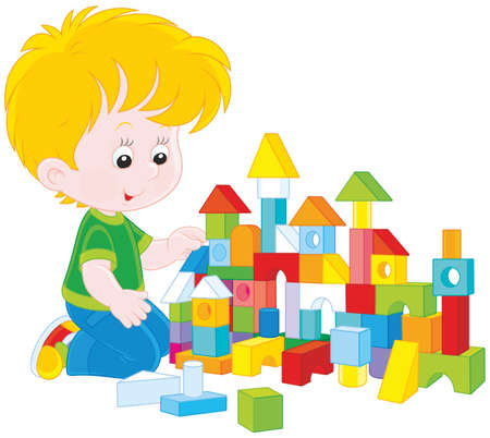 kleiner Junge mit einem Spielzeug-Haus mit farbigen Steinen Bau
