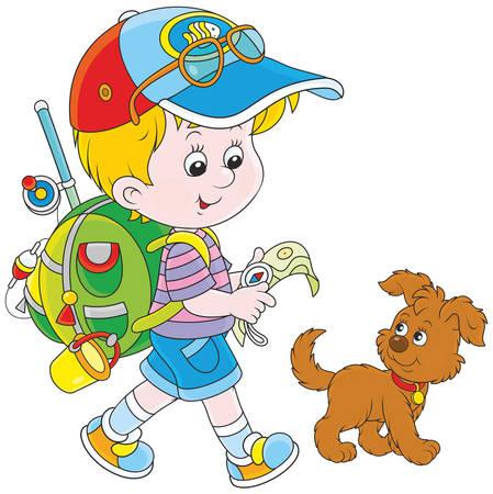 Boy backpacker Vector Illustration