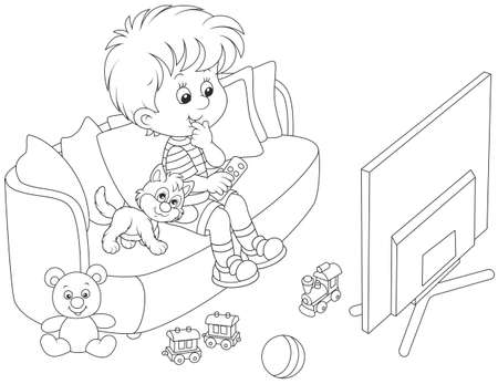 little boy sitting on a couch and watching TV Stock Illustratie