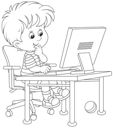 little boy playing computer games Stock Vector - 56585584