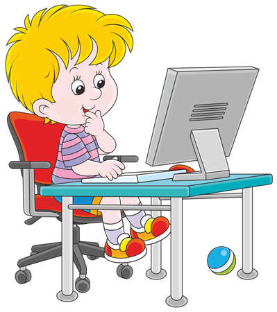 little boy playing computer games