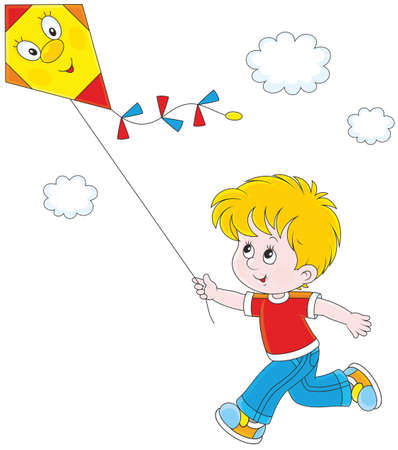Petit garçon un cerf-volant