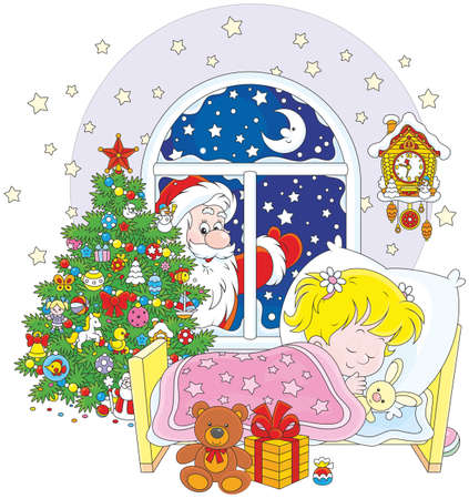 Santa Claus brought his gifts to a little sleeping girl in the night before Christmas