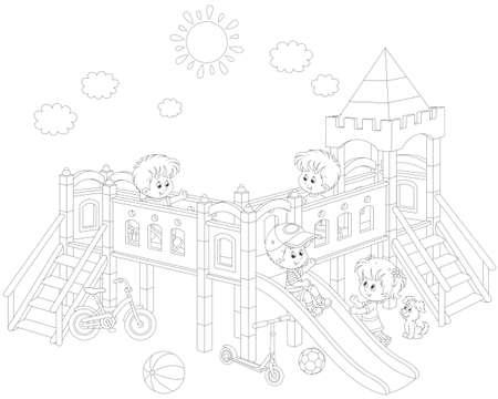 kleine kinderen spelen op een speelplaats Stock Illustratie
