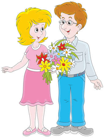 Loving couple with a bouquet of flowers