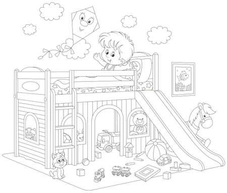 Ilustración De Vector De Niño Despertando Y Bostezando En La Mañana