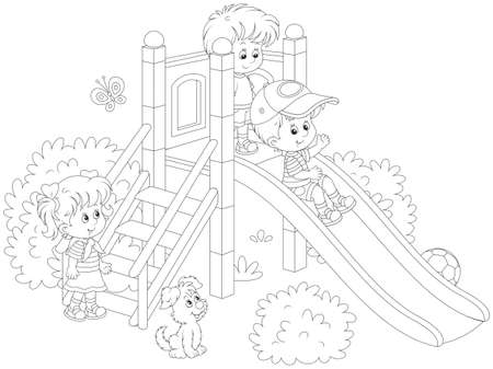 little children playing on a slide at a playground Illustration