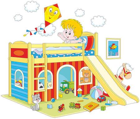 Boy waking up in his bedroom Vectores