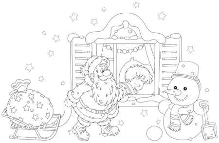 Santa con i regali per un bambino
