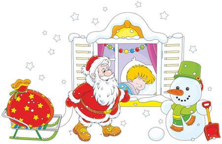 Santa con i regali per un bambino Vettoriali