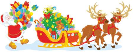 Babbo Natale porta un mucchio di regali di Natale per caricare la sua slitta
